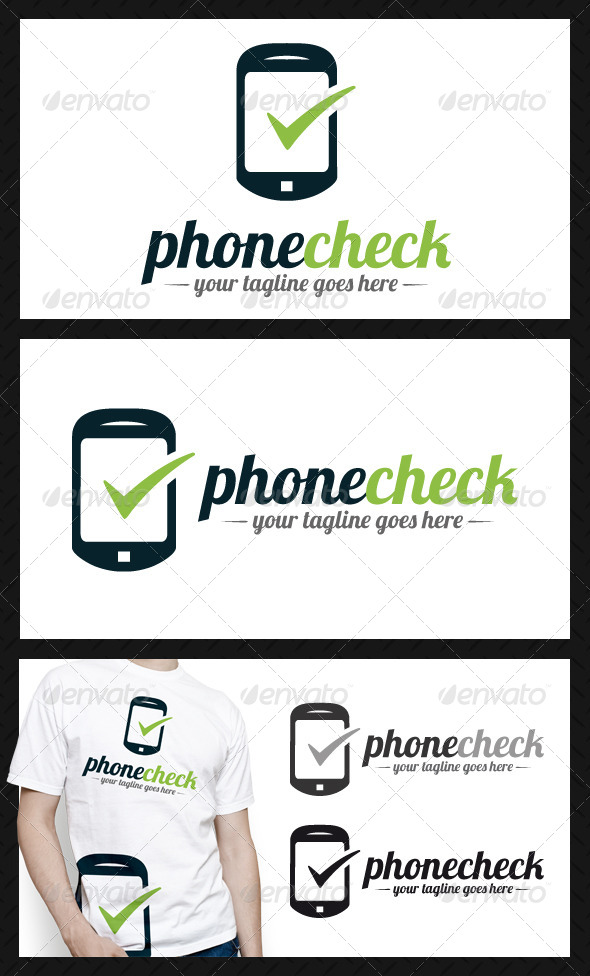 Phone Tick Check Mark Logo Template - Objects Logo Templates
