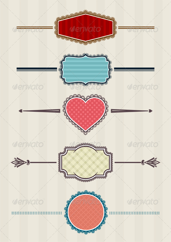 5 Laced Badges - Decorative Symbols Decorative