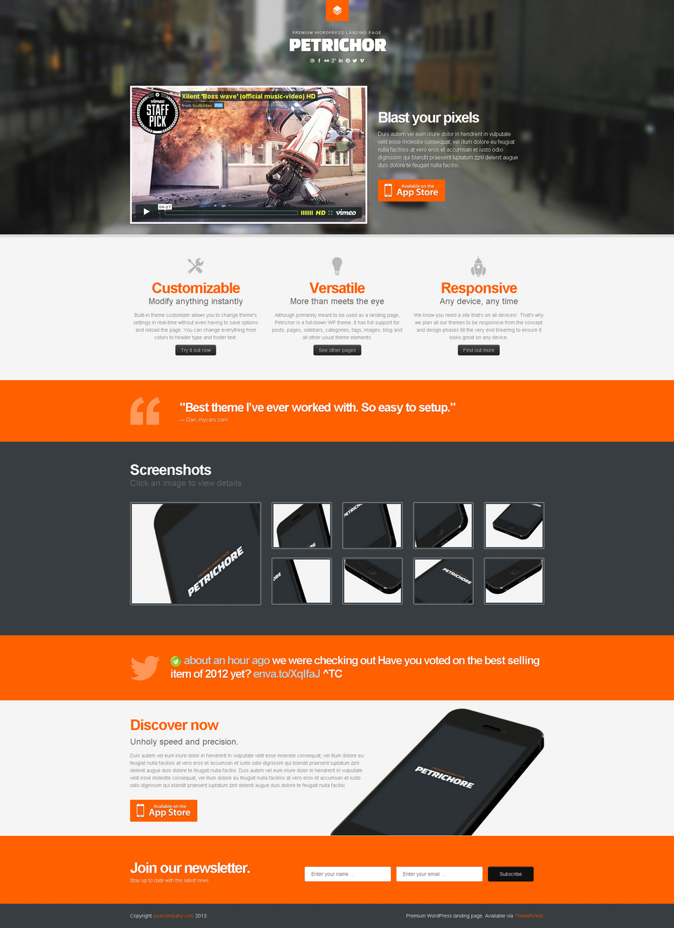 Petrichor Responsive WordPress Landing Page By WebFactory - Wordpress landing page template
