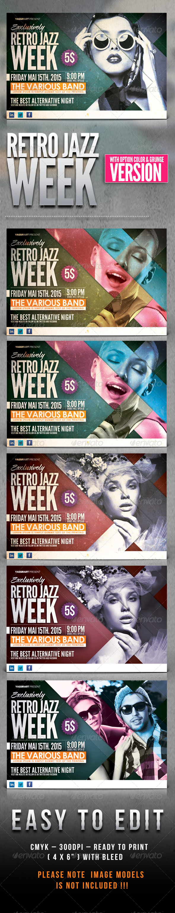 Retro Jazz Week Flyer Template - Flyers Print Templates