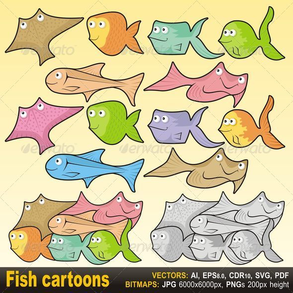 Fish Cartoons - Animals Characters