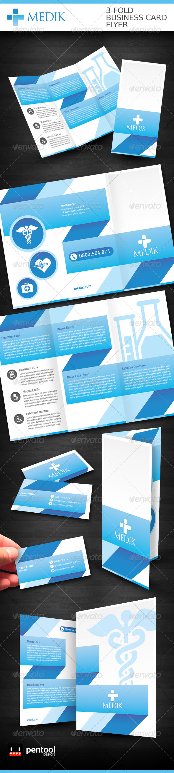 Medik 3-Fold/Business Card/Flyer  - Stationery Print Templates
