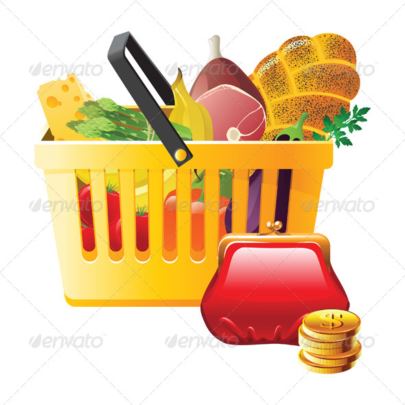 Full Shopping Basket and Wallet - Food Objects