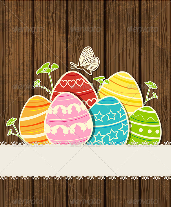 Wooden Background with Easter Eggs  - Miscellaneous Seasons/Holidays