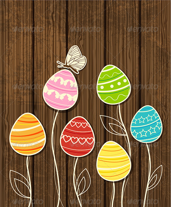 Easter Background with Eggs and Butterfly - Miscellaneous Seasons/Holidays