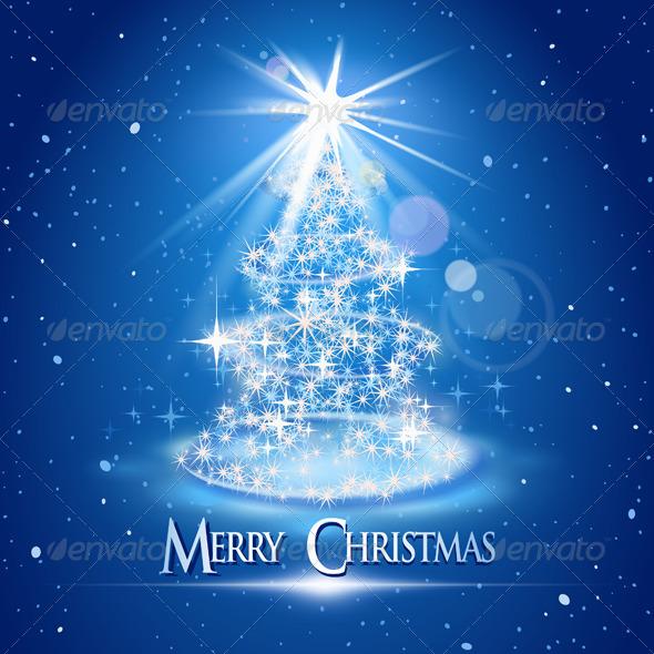 Christmas Tree and Light over Blue - Christmas Seasons/Holidays