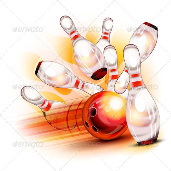 Bowling Ball Crashing into the Shiny Pins - Sports/Activity Conceptual