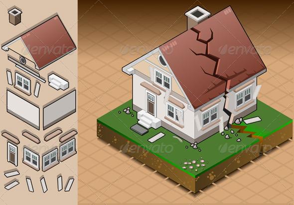 Isometric House Hit by Earthquake - Conceptual Vectors