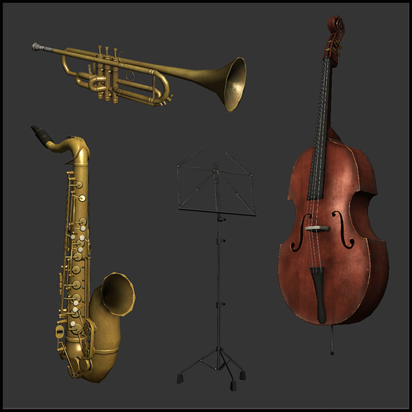 Jazz band Instruments - 3DOcean Item for Sale