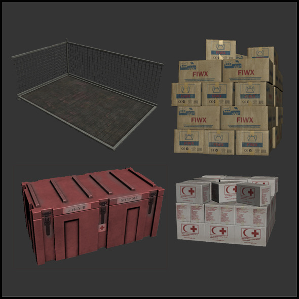 Relief Supply Boxes - 3DOcean Item for Sale