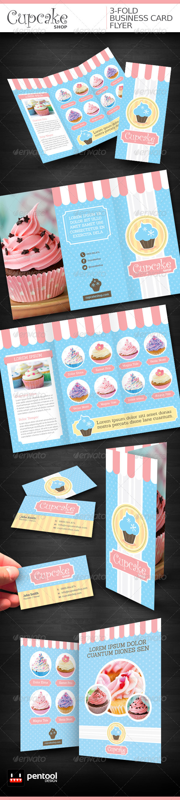 Cupcake Shop 3-Fold/Business Card/Flyer - Stationery Print Templates