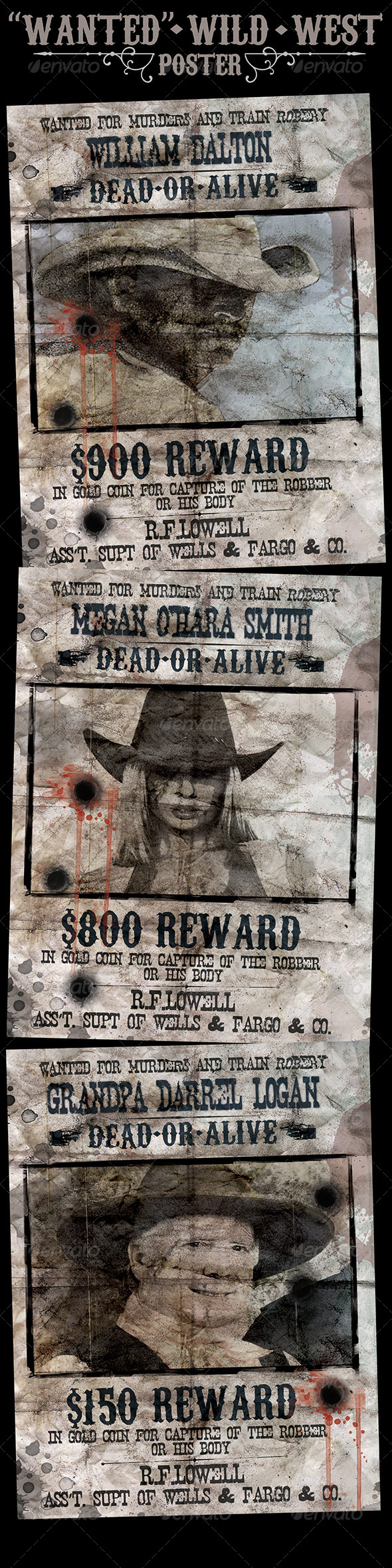 """""""Wanted"""" Poster - Wild West Style - Flyers Print Templates"""