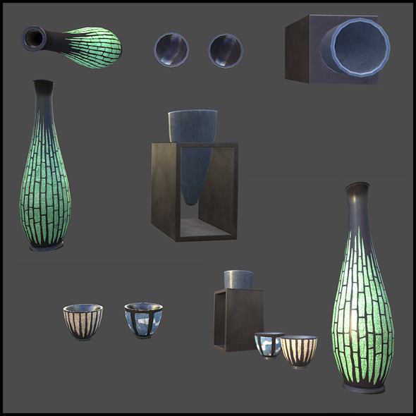 Vases Set - 3DOcean Item for Sale