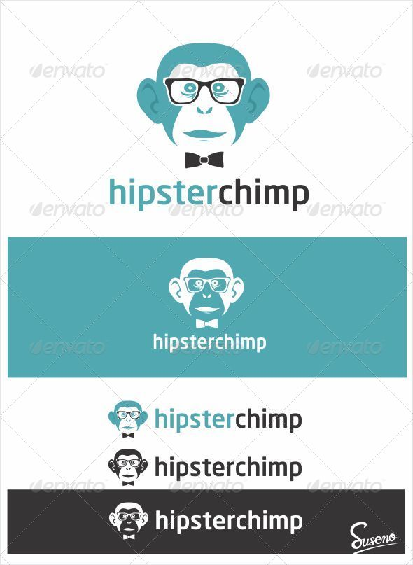 Hipster Chimp Logo - Animals Logo Templates