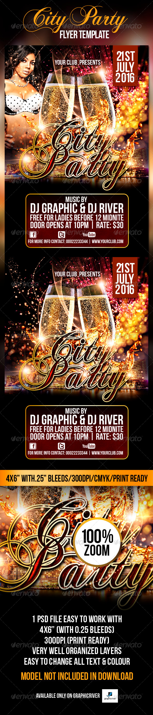 City Party Flyer Template - Flyers Print Templates