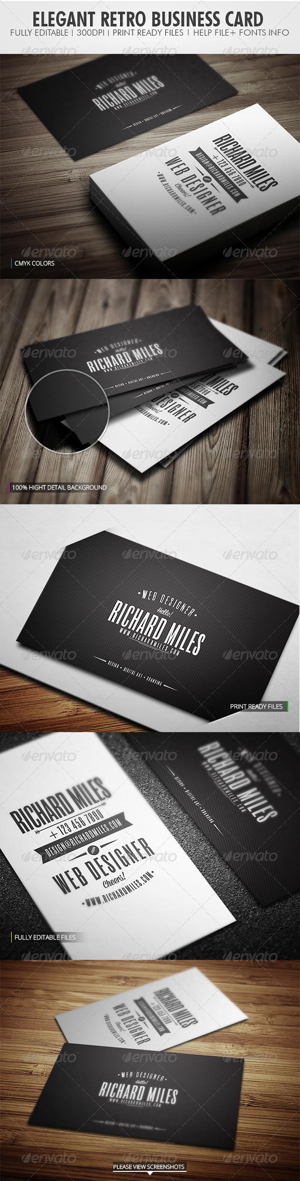 Elegant Retro Business Card - Retro/Vintage Business Cards