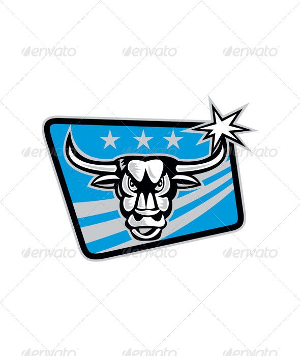 Texas Longhorn Bull Retro - Animals Characters