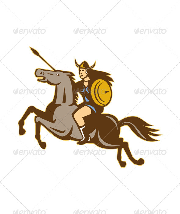 Valkyrie Riding Horse Retro - People Characters