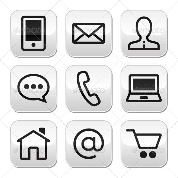 Contact Web Vector Stroke Buttons Set  - Web Technology