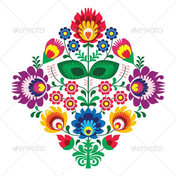 Polish Floral Folk Embroidery Pattern - Flourishes / Swirls Decorative