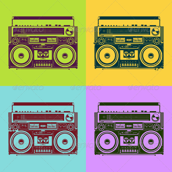 Psychedelic Style Old-School Tape Recorders - Vectors