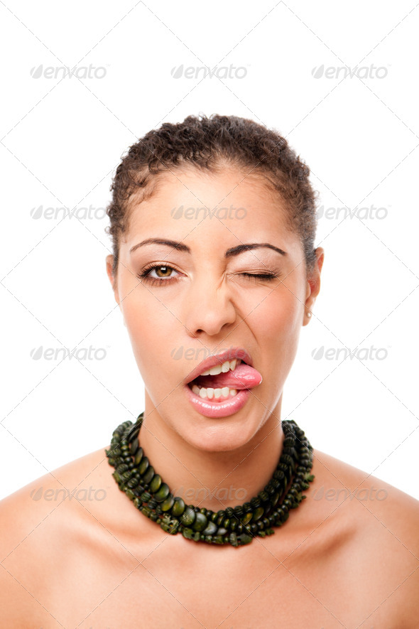Funny winking with tongue - Stock Photo - Images