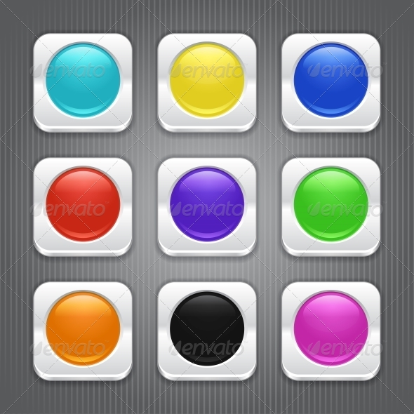 Set of Color App Icons. - Web Technology
