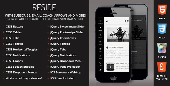 Reside Mobile Retina | HTML5 & CSS3 and iWebApp