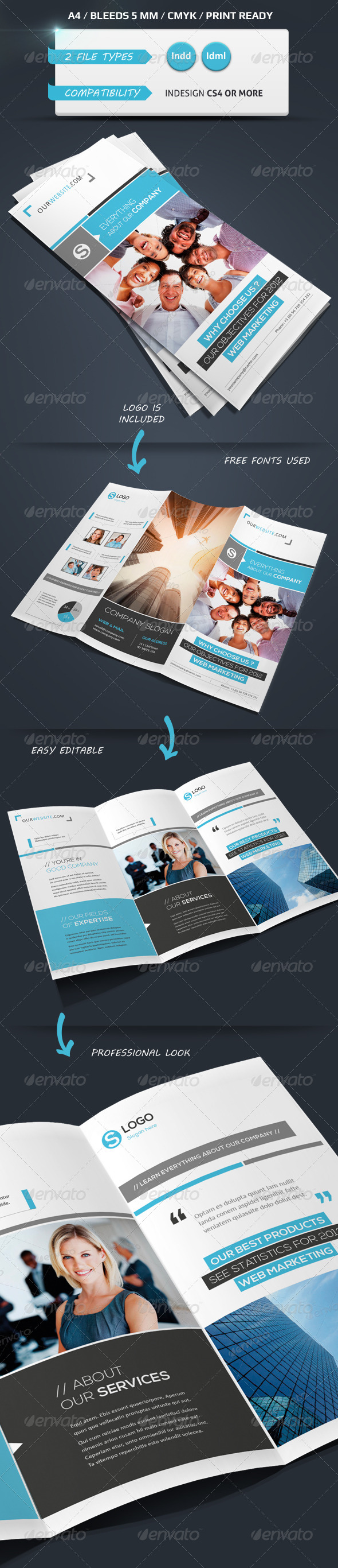 Modern & Corporate Trifold Brochure A4 - Brochures Print Templates