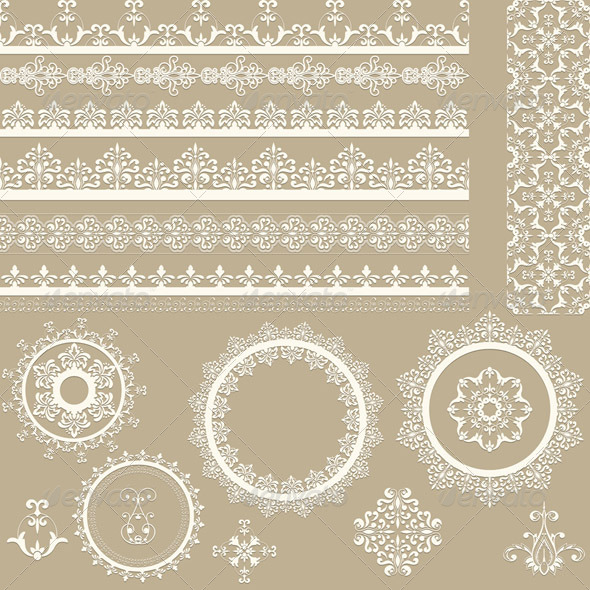 Lacy Ribbons Napkins and Design Elements - Borders Decorative