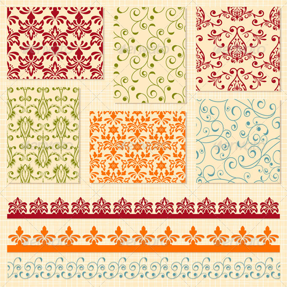 Seamless  Floral Patterns and Lacy Ribbons - Patterns Decorative