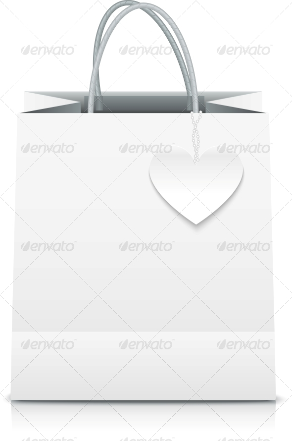 White Paper Vector Shopping Bag with Heart Label - Retail Commercial / Shopping