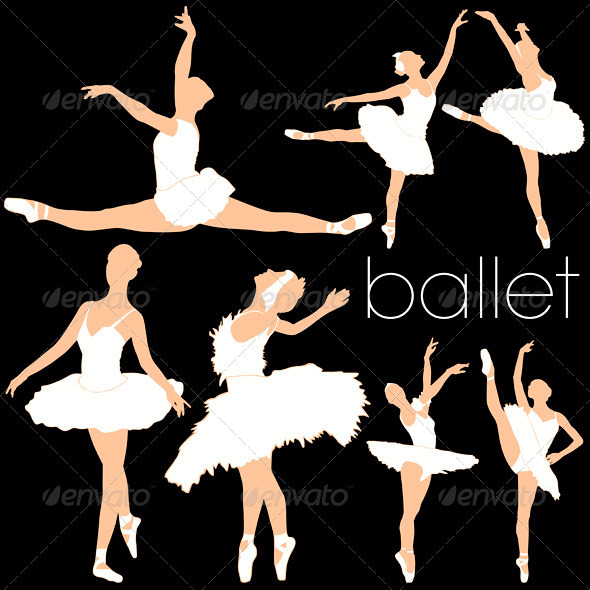 Ballet Dancers Silhouettes Set - People Characters