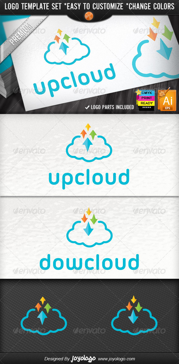 Pixel Arrows Storage Up Cloud Logo Template - Symbols Logo Templates