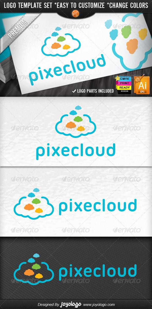 Creative Pixel Clouds Application Logo Template - Symbols Logo Templates