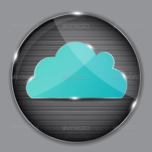 Vector Glass Button with Cloud Icon - Concepts Business
