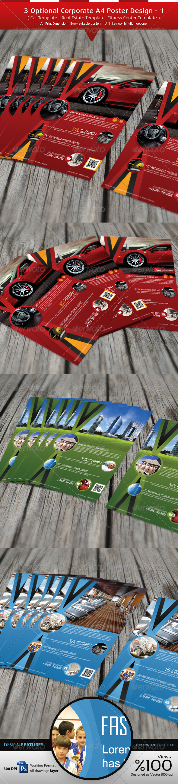 3 Optional Corporate A4 Flyer Design - Flyers Print Templates
