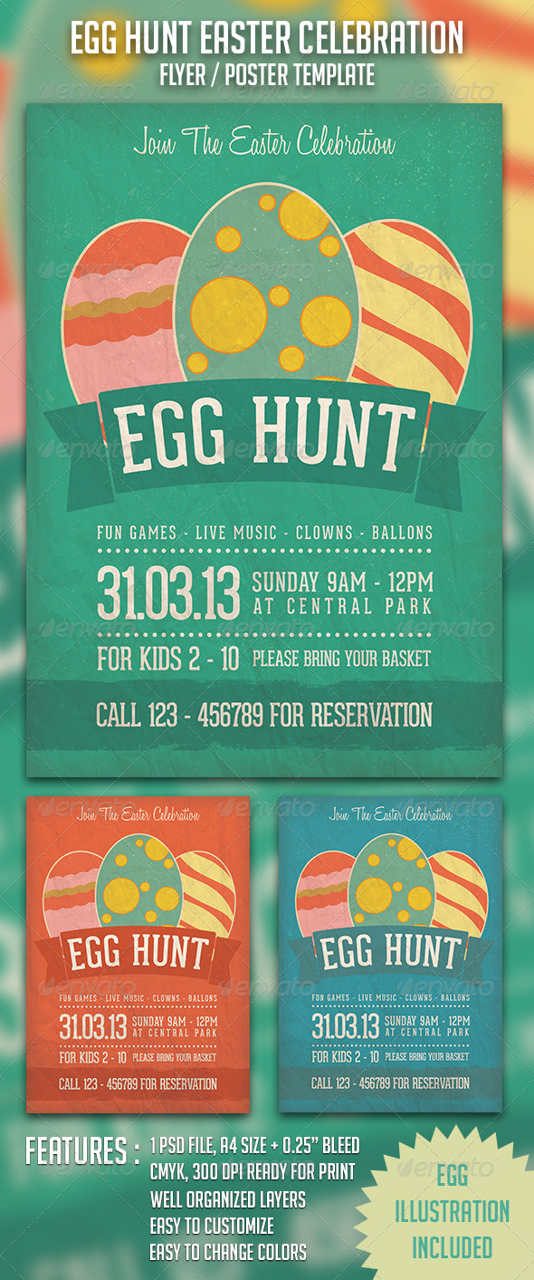 Egg Hunt Easter Celebration - Church Flyers