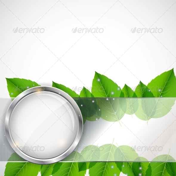 Abstract Background with Leaves and Glass Frame - Miscellaneous Vectors