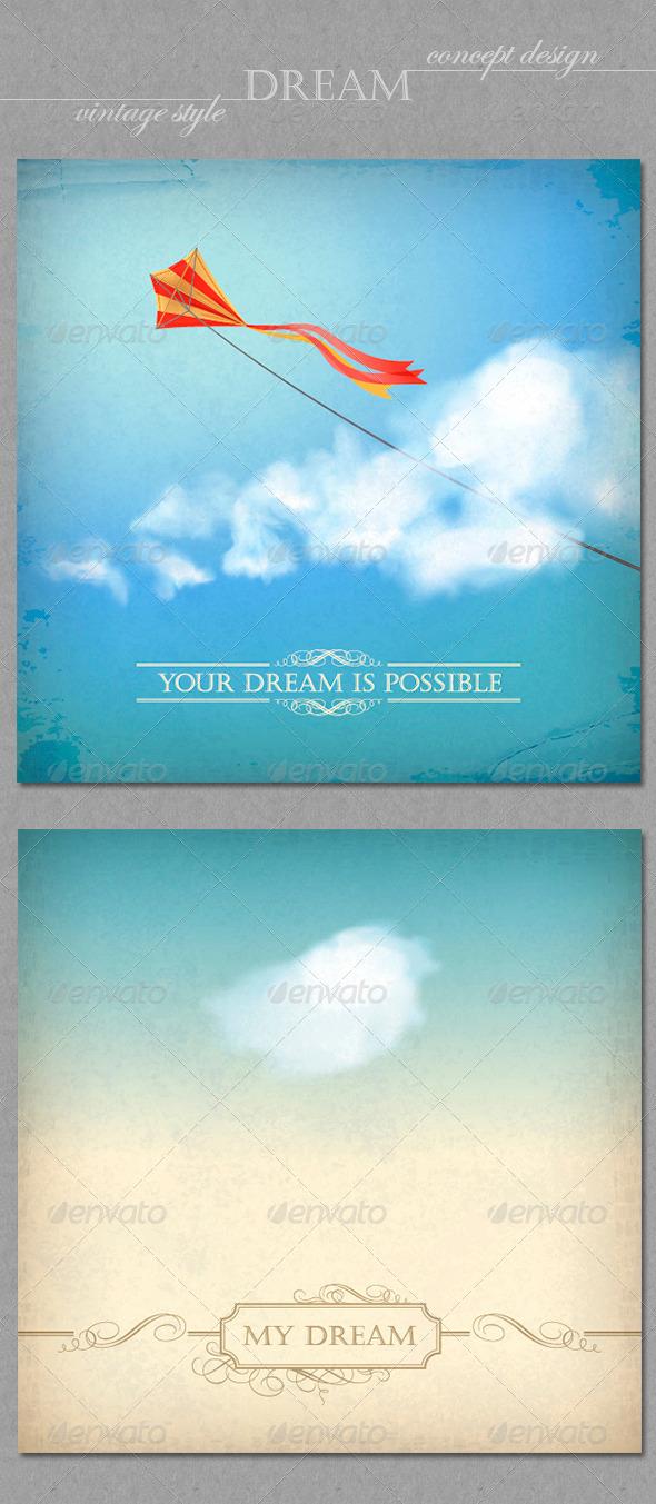 Vintage Sky Backgrounds. Concept Dream Design - Conceptual Vectors