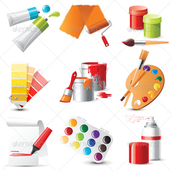 Artists Supplies - Objects Vectors