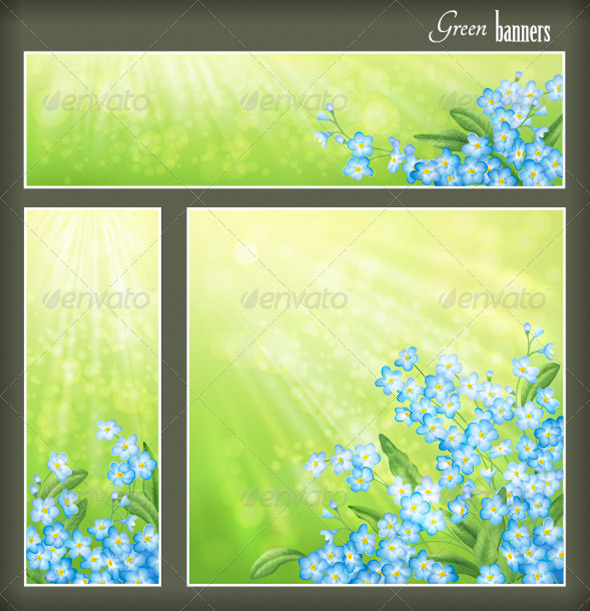 Green Banners Set with Flowers - Seasons Nature