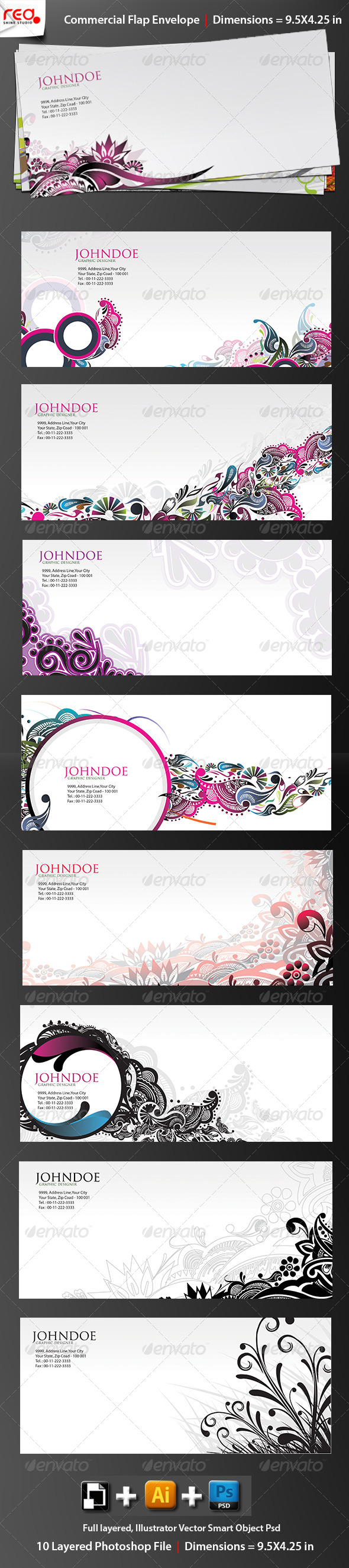 Print Ready Commercial Bussiness Envelope 2 - Stationery Print Templates