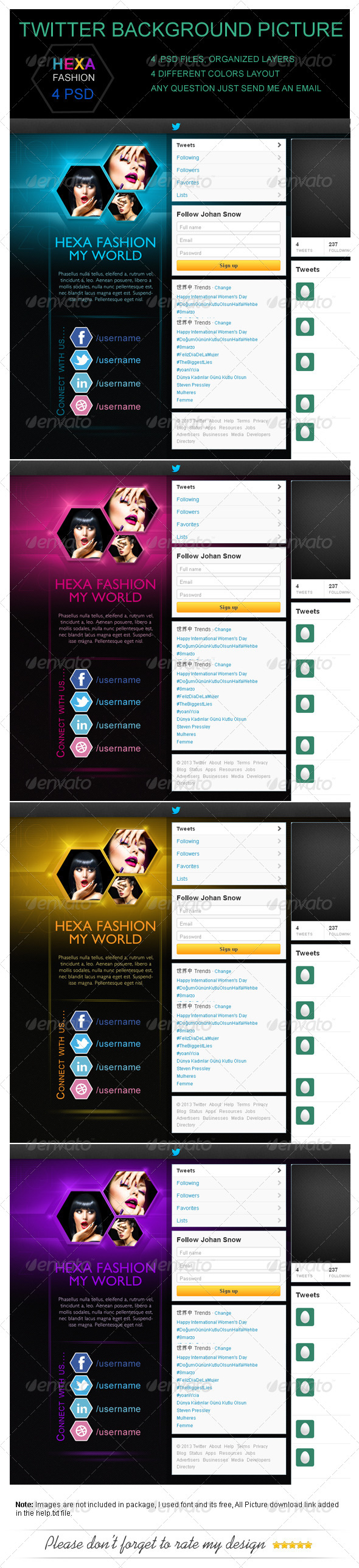 Hexa Fashion Twitter Background Picture - Twitter Social Media