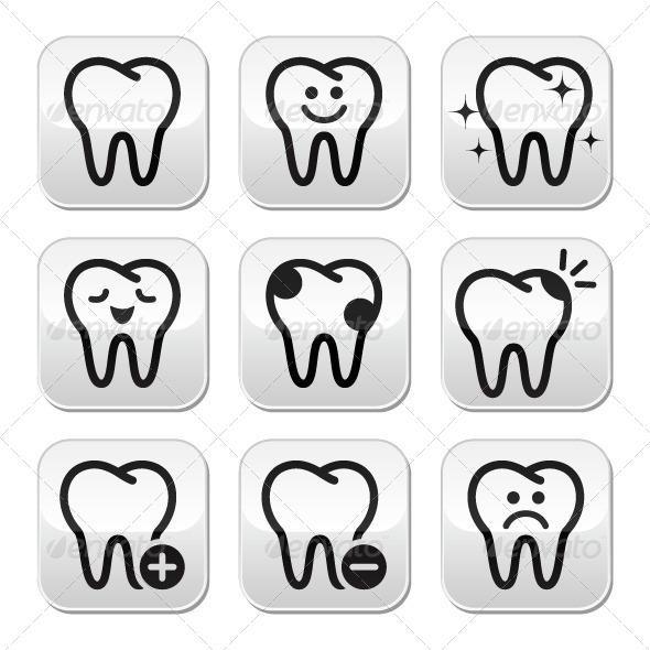 Tooth , Teeth Vector Buttons Set  - Health/Medicine Conceptual