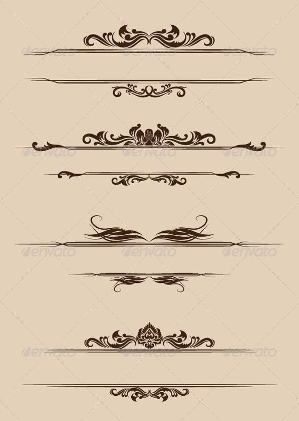 Ornament Border Set - Flourishes / Swirls Decorative