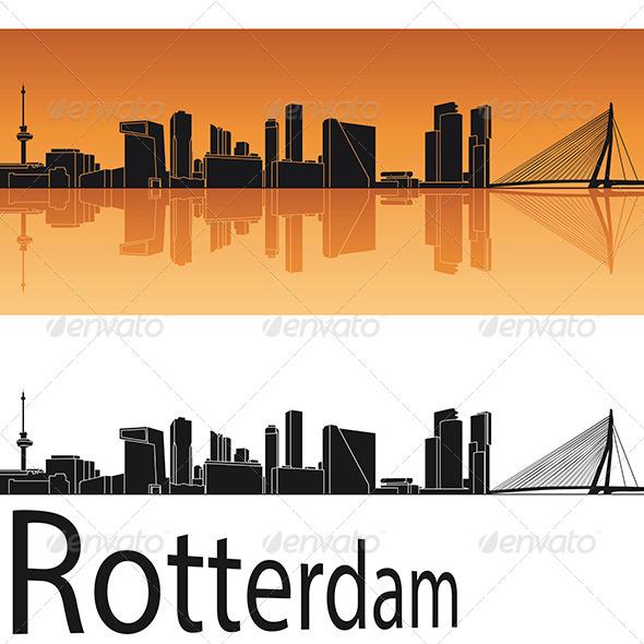 Rotterdam Skyline In Orange Background
