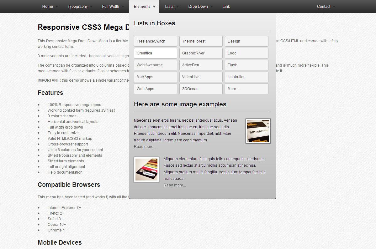CSS3 Mega Drop Down Menu by Pixelworkshop | CodeCanyon