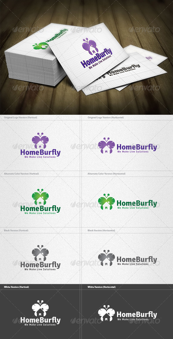 Butterfly Home Logo - Buildings Logo Templates
