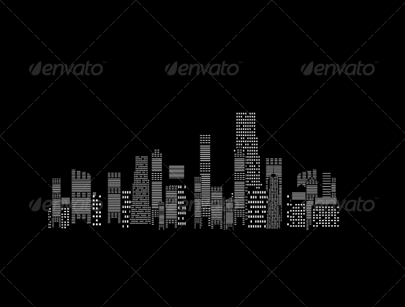 Cities Silhouette on Black Background - Buildings Objects
